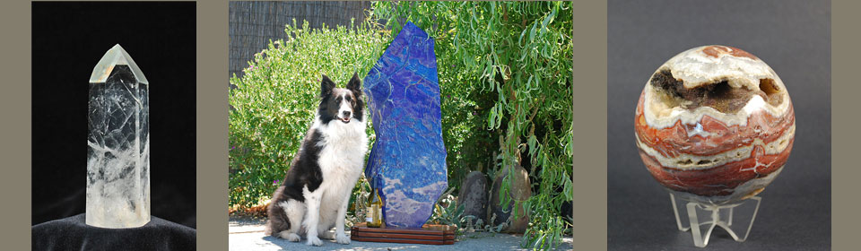 Quartz crystal, lapis sculpture with a big dog, jasper sphere